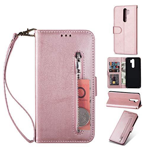 ZTOFERA Redmi Note 8 Pro Hülle, Magnetisch Folio Flip Wallet Leder Standfunktion Reißverschluss schutzhülle mit Trageschlaufe, Brieftasche Hülle für Xiaomi Redmi Note 8 Pro - Roségold