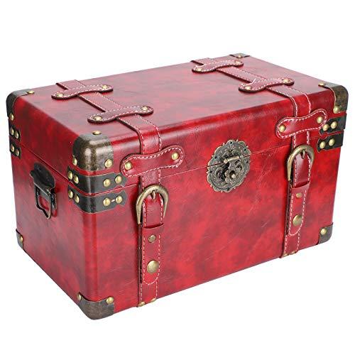 Caja de almacenamiento de madera, Joyero retro vintage Organizador de caja de tesoro decorativo para anillos de almacenamiento Caja de regalo de joyería, 35x24x22cm