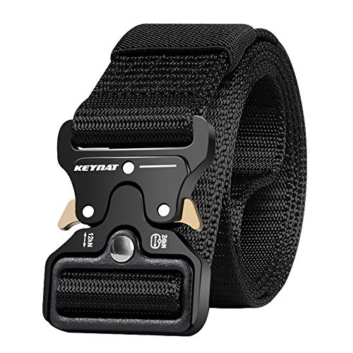 KEYNAT Cinturón Táctico con Hebilla de Liberación Rápida, 125 * 3.8cm Cinturón Nylon para Hombres Hebilla Metal Estilo Militar Servicio Pesado