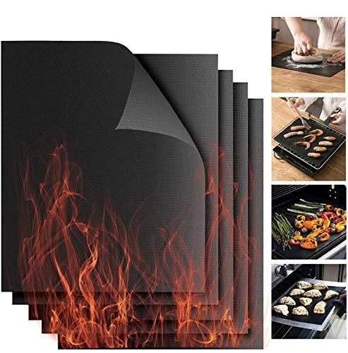 CARLAMPCR Premium Grillmatten Set (5 Stück), 40 x 33 cm, Dauer Backmatte, Grillfolie, Grillmatte, Anti-Haft Teflon Beschichtung, Grillunterlage, Bratfolie, Backofenfolie, Backofenmatte