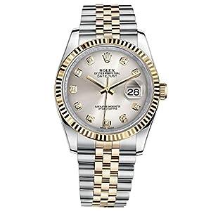 Fashion Shopping Rolex Datejust 36 Steel Yellow Gold Watch Steel Silver Diamond Dial 116233