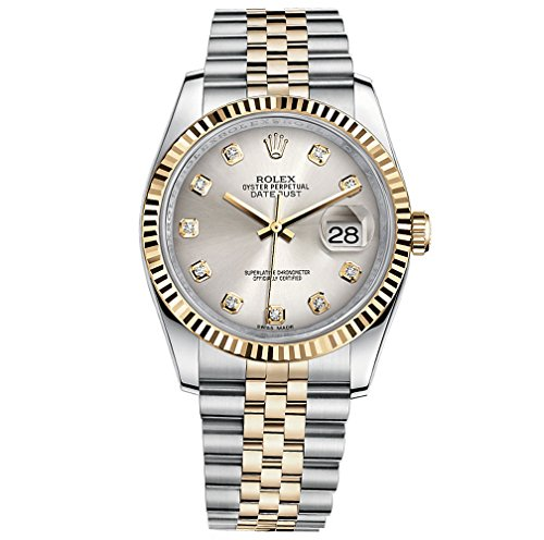 Fashion Shopping Rolex Datejust 36 Steel Yellow Gold Watch Steel Silver Diamond Dial 116233