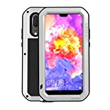 Simicoo Huawei P20 Pro Aluminum Alloy Metal Bumper Silicone Full Body Hybrid Case Built-in Gorilla Glass Military Shockproof Heavy Duty Armor Defender Tough Case for Huawei P20 Pro (Sliver, P20 Pro)