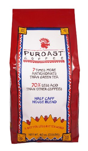 Puroast Low Acid Whole Bean Coffee, Half Caff House Blend, High Antioxidant, 2.5 Pound Bag