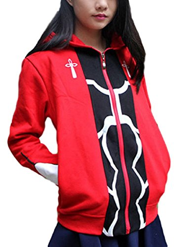 GK-O Unisex Anime Fate Stay Night Archer Red Zipper Thick Hoodie Cosplay Costume Sweatshirt (Asian Size X-Large)