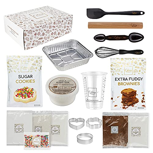 DIY Baking Kit - Baking Set & Supplies for Adults & Teens - Sugar Cookie Mix & Brownie Mix, Icing Mix, Rolling Pin, Spatula, Cookie Cutter, Pan, & Measuring Tools