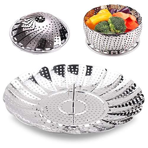 Pyamcmsy Gemüse-Dampfkorb, faltbar, für Pfannen, Schnellkochtöpfe, Kochtopf, Geschirr und Topf 5.5 inch to 8.8 inch silber