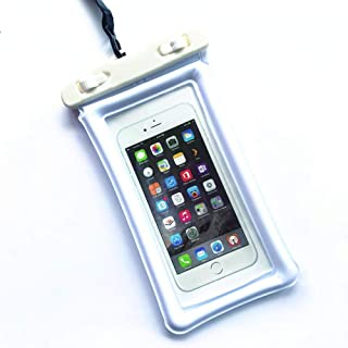 Universal Waterproof case, Dry Bag TPU Floating Waterproof Cell Phone Pocket with Neck Strap for iPhone X/8/8plus/7/7plus/6s/6/6s Plus, Samsung Galaxy S6, Note 5 4, HTC(White X0001)