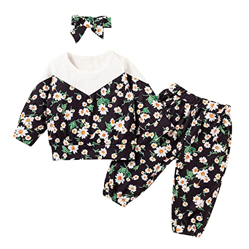 Kids Toddler Girls Jacket T Shirt Romper Sweatshirt Long Sleeve Patchwork Floral Pullover + Pants + Headband 3 Outfits Set