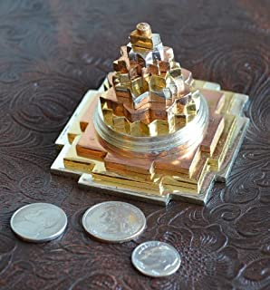 BLESSED & ENERGIZED Sri Shri Shree Meru Yantra 3D with 11 Plates in Pure Brass and gold/silver polished-3Lx3Wx2.5H Inches-...