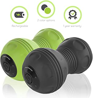 Sedona 4-Speed Vibrating Massage Ball - Electric Rechargeable Portable Peanut Dual Foam Roller for Deep Tissue Recovery Pain Soreness Myofascial Acumobility for Hips Feet Arms Back Neck Waist - Black