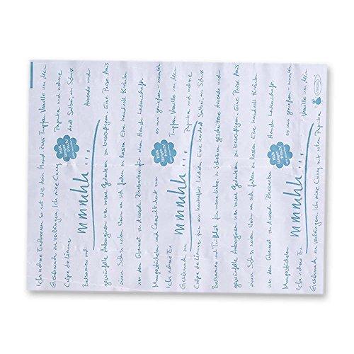 500x OVTENEzero-Zuschnitte ¿mmmhh.¿, Einschlagpapier, Weiß/Taubenblau, 31x40cm