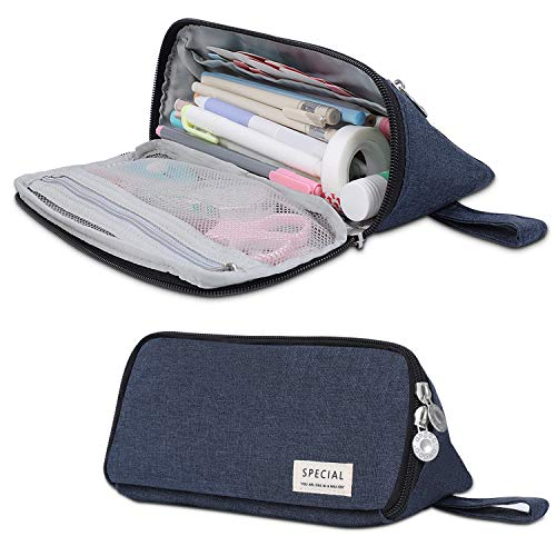 Big Capacity Pencil Case, Triangle Pencil Pouch, Handheld Pencil Bag with Zipper, Makeup Bag, Stationery Organizer Pen Holder, for Boys Teens Adults Students School Office Supplies (Navy Blue)