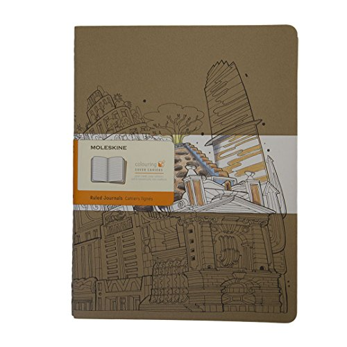 Moleskine Cahier omslag voor het beschilderen set van 2, Xlarge, gelinieerd, kartonnen omslag, pakpapierbruin