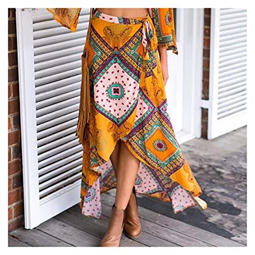 chushi Vestidos de Mujer Falda De Swallowtail De Mujer Retro Bohemio Impresión De Cordones Faldas De Verano Vacaciones De Verano Faldas Vestido de Novia Zzib (Color : A, Size : L)