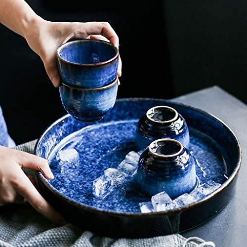 YNHNI Azul Retro Taza Placa de Ensalada Bandeja de té Bandeja de cerámica de la Fruta Grande Placa Redonda del vajilla (Color : Tea Tray Set)