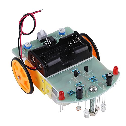 Kit per Auto Robot Intelligente, Auto di localizzazione Intelligente LM393 Fai-da-Te con Luce LED Rossa, Istruzioni di Montaggio: Circuito di Saldatura