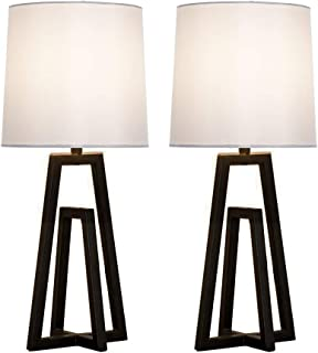 CASILVON Simple Design Living Room Bedroom Set of 2 Black Metal Base Bedside Table Lamp, Table Lighting with TC Fabric Shade Desk Lamps