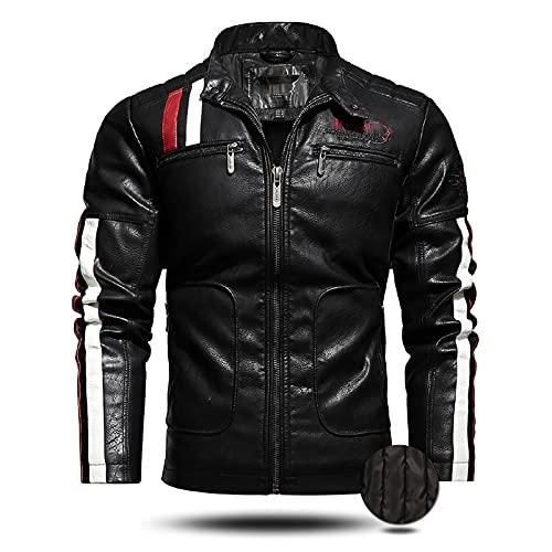 LISI Chaqueta de cuero de la motocicleta para los hombres desgastado PU Vintage Moto Riding Biker Chaquetas moda casual mantener caliente ropa