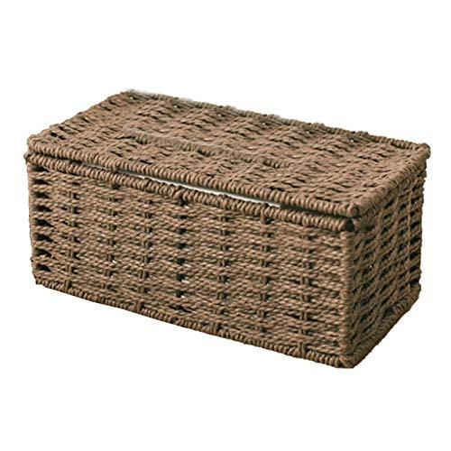 caja pañuelos papel,dispensador toallas papel,Caja de pañuelos de ratán, servilletero vintage, caja, contenedor de almacenamiento, desorden, cubierta, decoración de escritorio para sala de estar