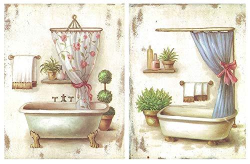 Cuadro de Madera de baño Set de 2 Cuadros de 19 cm x 25 cm x 4 mm unid. Adhesivo FÁCIL COLGADO. Adorno Decorativo. Decoración Pared hogar