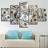 DGFHW Impresiones sobre Lienzo 5 Cuadros En Lienzo Modernos Dormitorios Murales Pared Lona Hogar Cuadros Decora Salón 150 * 80Cm Pila De Dinero De Billetes De Dólar