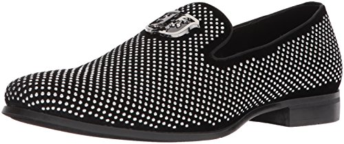 STACY ADAMS Men's Swagger Studded Ornament Slip-On Driving Style Loafer, Black/Silver, 10 M US