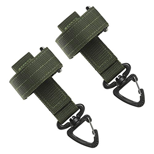 BESPORTBLE Molle Key Ring Chain Heavy Duty Firefighter Glove Strap With Mini Carabiner Clips Adjustable Work Glove Holder For Camping Hiking Working 2pcs