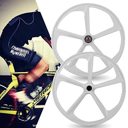 DYRABREST 700C Fixed Gear 5-Spoke Mag Wheel Set Fixie Fixed Gear Single Speed White Front Rear Bicycle Wheels Rims Set (White)