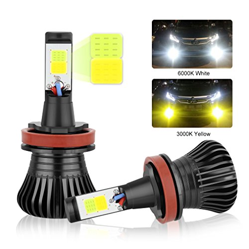 H11 LED Fog Light Bulbs H8 H9 LED Bulbs, Dual Color with COB Chips Super Bright Replacment for Car DRL or Fog Lights 3000K Yellow Amber 6000K Xenon White