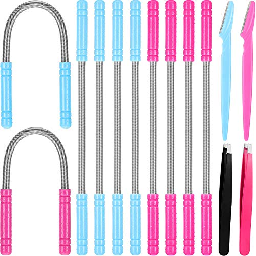 14 Pieces Facial Hair Remover Set Spring Epilator Hair Removal Springs Eyebrow Razors Beveled Tweezers Removes Hairs Women Face Threading Tool