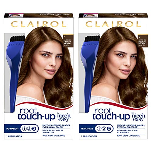 Clairol Root Touch-Up by Nice'n Easy Permanent Hair Dye, 5 Medium Brown Hair Color, 2 Count