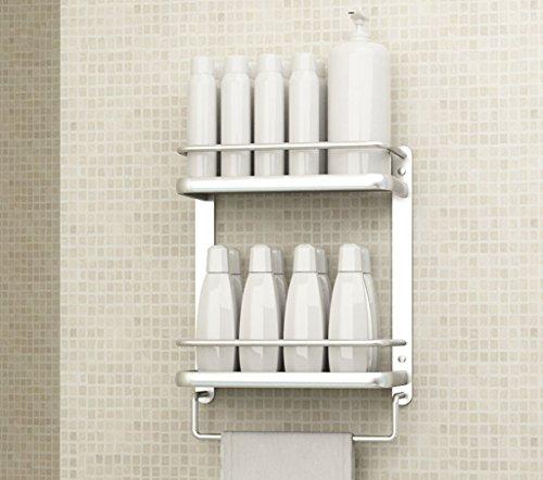 Étagère Lingyun Supports muraux de Salle de Bains à Deux Niveaux en Aluminium de Deux étages de Haute qualité (Conception : # 2, Taille : 53 * 15 * 66cm)