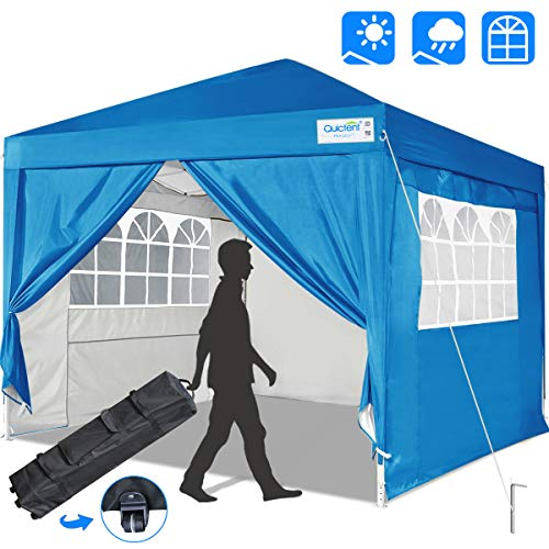 Quictent Silvox 10x10 Ez Pop Up Canopy Tent Enclosed Instant Canopy Shelter Protable Waterproof with Sidewalls and Church Windows (Light Blue)