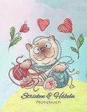 Stricken und Häkeln Notizbuch: Strick-Design Blanko Buch für Handarbeiten Nadelarbeiten Projekte, Cover mit Katze und Wolle