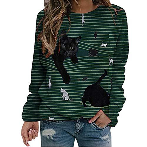 Dibujos animados de gato Imprimir Casual O-cuello Camiseta de manga larga,divertidos Tops de rayas Casual Damas Personas de gran tamaño Cuello de la tripulación Moda Sudadera Sudadera Túnica,Verde,XXL