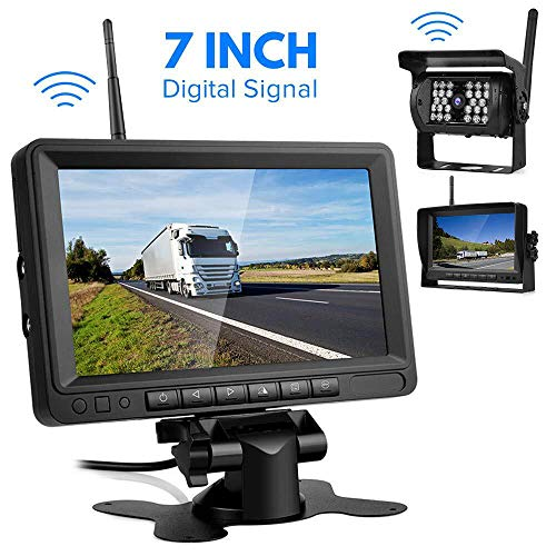 Directtytema Digital Caméra de Recul Sans Fil, Caméra de Recul avec Signal Numérique Stable, Caméra de Voiture Etanche IP68 avec 7'' LCD Moniteur Vision...