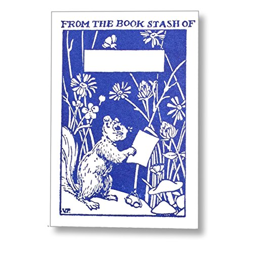 Letterpress Reading Squirrel Ex Libris Kids Bookplates, Made in The USA