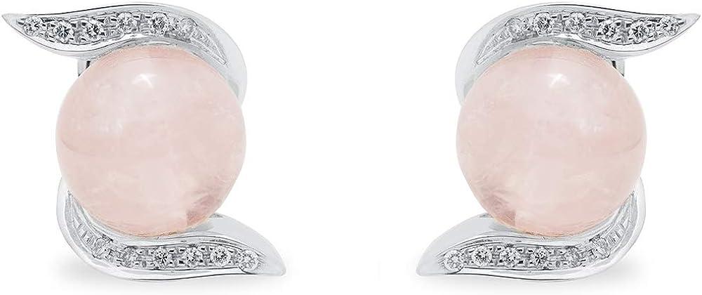 B.&c. gioielli orecchini donna in oro bianco 18kt, diamanti e quarzo rosa orecchini03