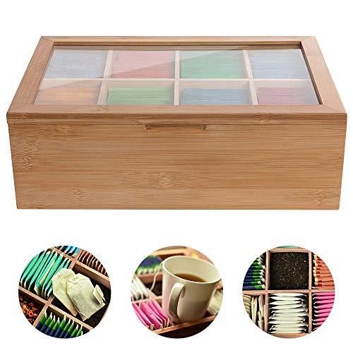 Houkiper Almacenamiento de caja de té de madera, organizador de bolsitas de té Houkiper Nature 8 compartimentos Caja de cofre en bambú, natural Perfecto para paquetes de azúcar de té de café