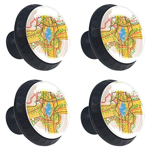 for Home Wardrobe Office Kitchen Dresser and Cupboard 4pcs Diy Round Cabinet Knobs Glass Rosabel Goodman Drawer Pull Handle with Screws