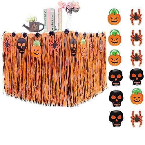 Paño de Tabla Halloween, FANDE Paño de Tabla Hawaiano, Falda de Mesa...