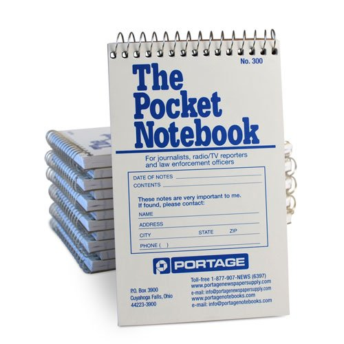 """Portage Pocket Sized Notebook for Journalists and Reporters, Law Enforcement Professionals and More – 3 ¾"""" x 6 1/2"""" Wide Ruled Spacing Pocket Spiral Notebook – 140 Pages (12 Pack)"""