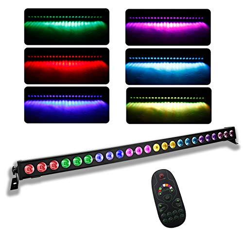 UKing LED Wall Wash Partylicht 24 x 3W leds RGB Bar Disco Lichteffekt mit Fernbedienung und DMX musikgesteuert Strobe Beleuchtung für DJ Disco Home Party Bühnenlichter