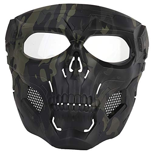 NINAT Airsoft Masks Full Face Skull Tactical Black CP Mask with Clear PC Lens Eye Protection for CS Survival Games BBS Gun Shooting Halloween Cosplay Movie Props Scary Masks