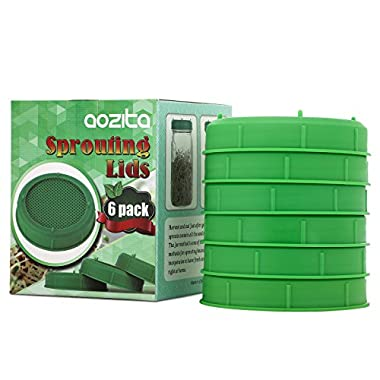 [UPGRADED] Aozita 6 Pack Plastic Sprouting Lids for Wide Mouth Mason Jars - Sprouing Jar Strainer Lids for Canning Jars - Screen for Sprouting Seeds Such as Broccoli, Alfalfa, etc.