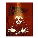 Freddie Mercury-'Bohemian Rhapsody' Abstract Word Art Print- 8 x 10 Wall Print- Ready To Frame- Queens Classic Song Poster. Home Decor-Studio-Bar-Man Cave Decor. Perfect Gift For All Rock Music Lovers