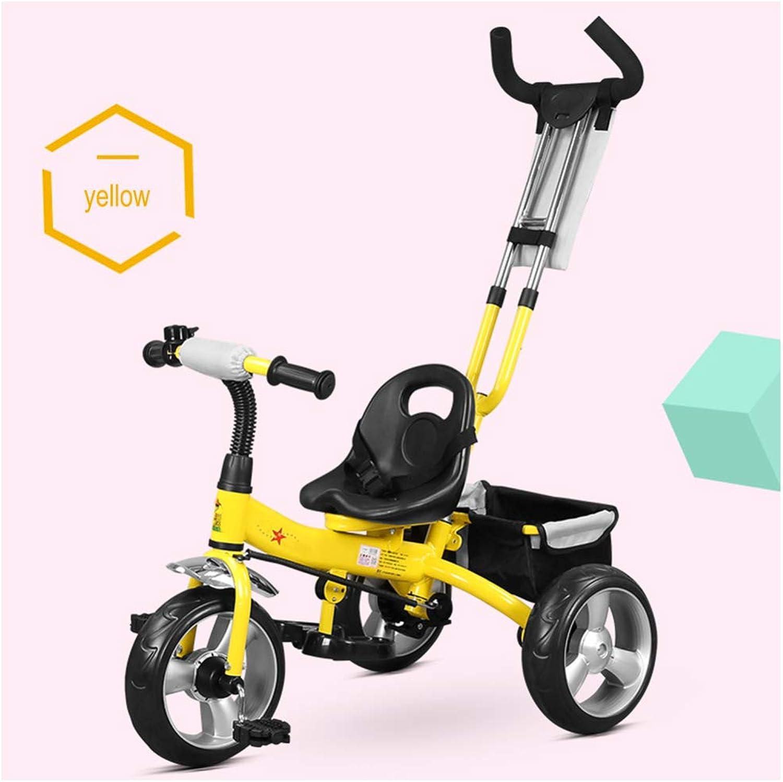 en linea JYY Triciclo 2 2 2 En 1 para Niños, Manija De Empuje De Los Padres, Pedal, Freno, Cesta De Almacenamiento,amarillo  ventas en línea de venta