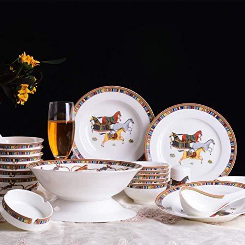AYHa Vajilla de cerámica Horse Knight (26 piezas) Vajilla personalizada para que muchas personas sirvan Exquisita vajilla de cerámica verde china