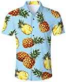 ALISISTER Ananas Hemd Kurzarm Bluse Funky Hawaiihemden Männer Herren Erwachsene 3D Lässig Strand Aloha Party Regular Slim Fit Hawaii Shirts Hellblau XL